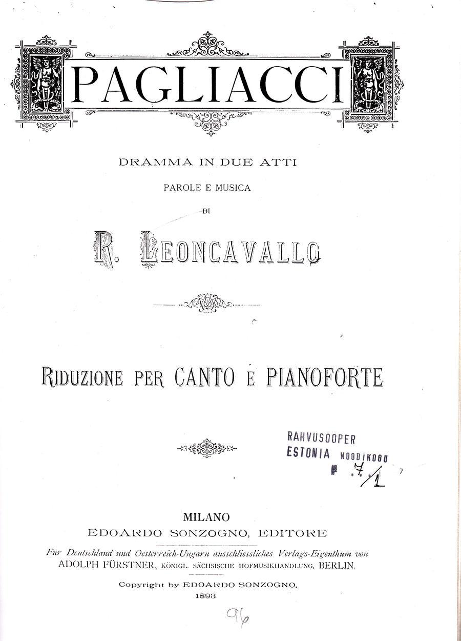 Leoncavallo Pgliacci (Pajatsid)