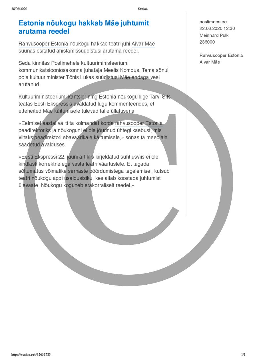 Estonia nõukogu hakkab Mäe juhtumit arutama reedel