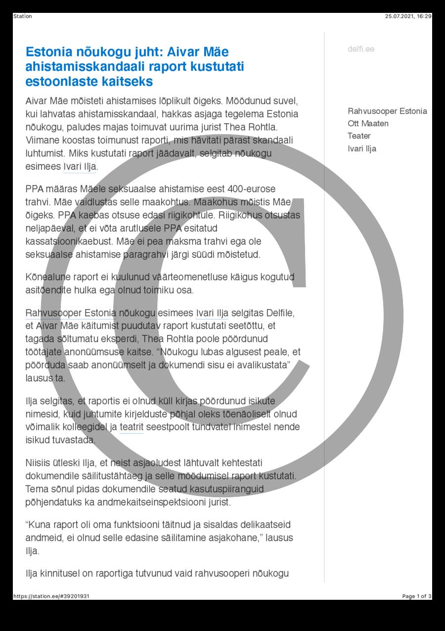 Estonia nõukogu juht- Aivar Mäe ahistamisskandaali raport kustutati estoonlaste kaitseks