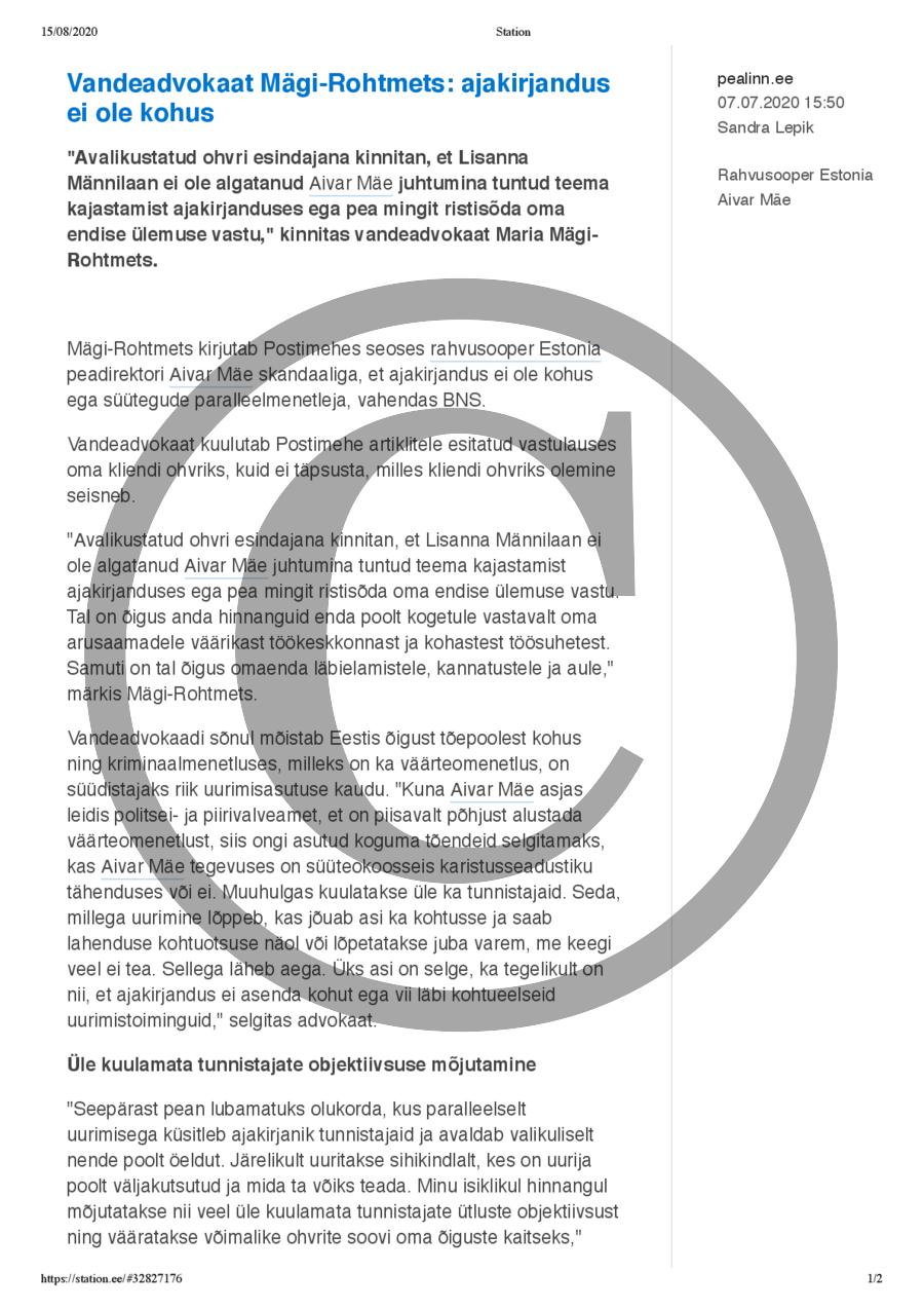 Vandeadvokaat Mägi-Rohtmets- ajakirjandus ei ole kohus