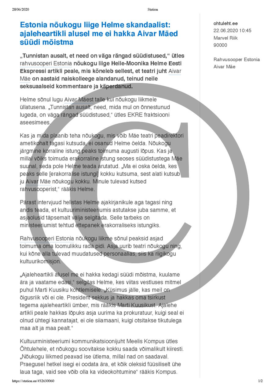 Estonia nõukogu liige Helme skandaalist- ajaleheartikli alusel me ei hakka Aivar Mäed süüdi mõistma