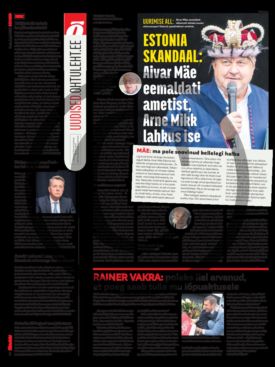 Estonia skandaal- Aivar Mäe eemaldati ametist, Arne Mikk lahkus ise