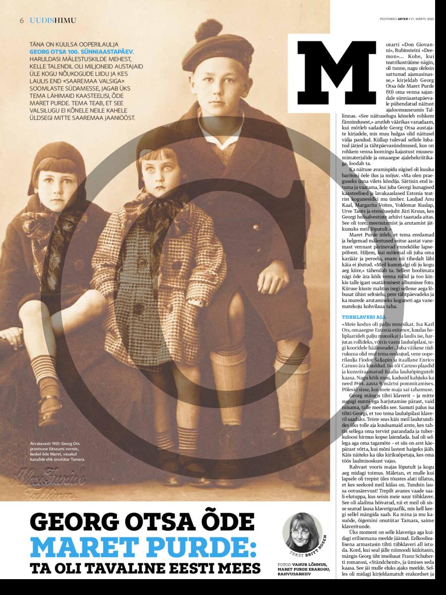 Georg Ots 100. Suurt lauljat meenutab tema õde Maret Purde- ta oli täitsa tavaline eesti mees