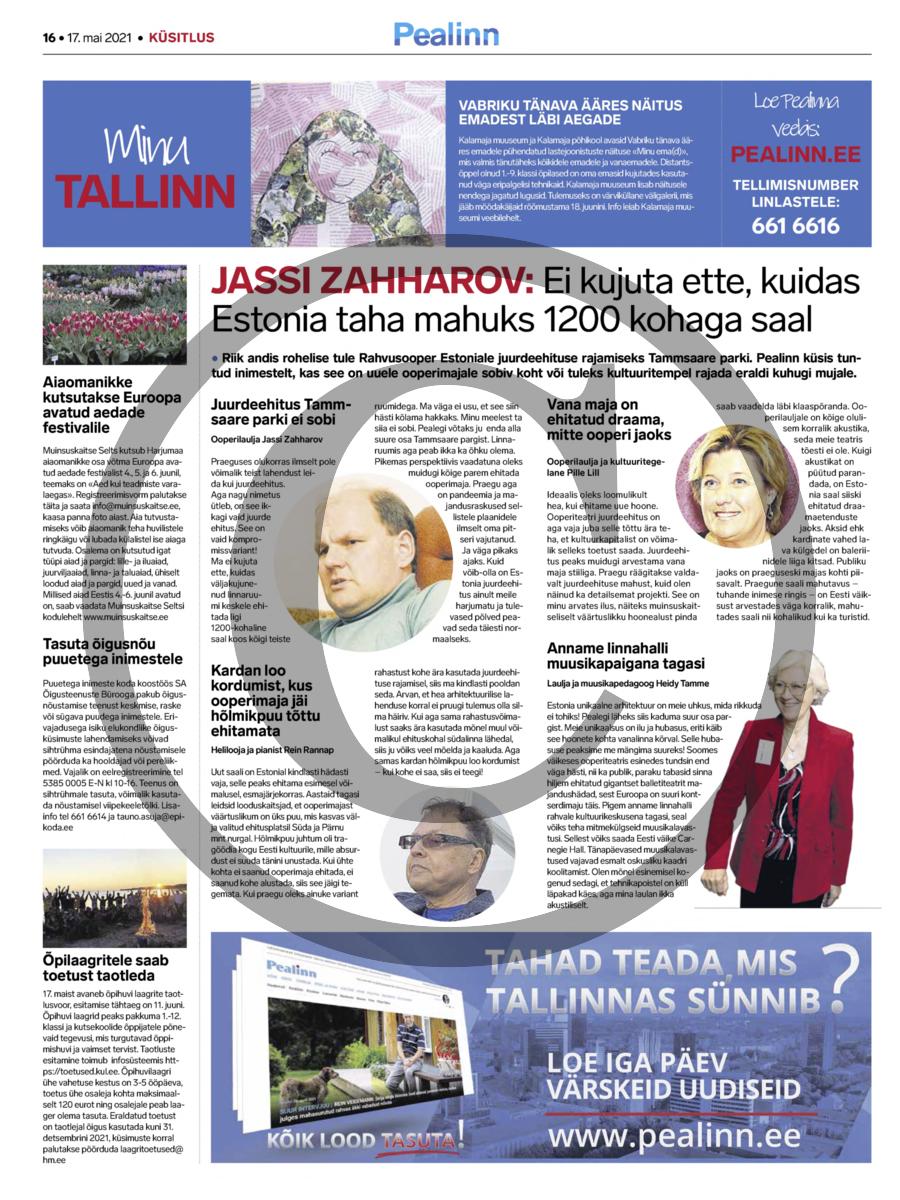 Jassi Zahharov- ei kujuta ette, kuidas Estonia taha mahuks 1200 kohaga saal