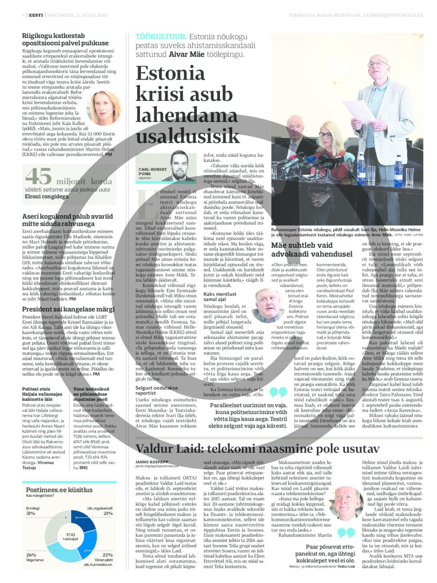 Estonia kriisi asub lahendama usaldusisik