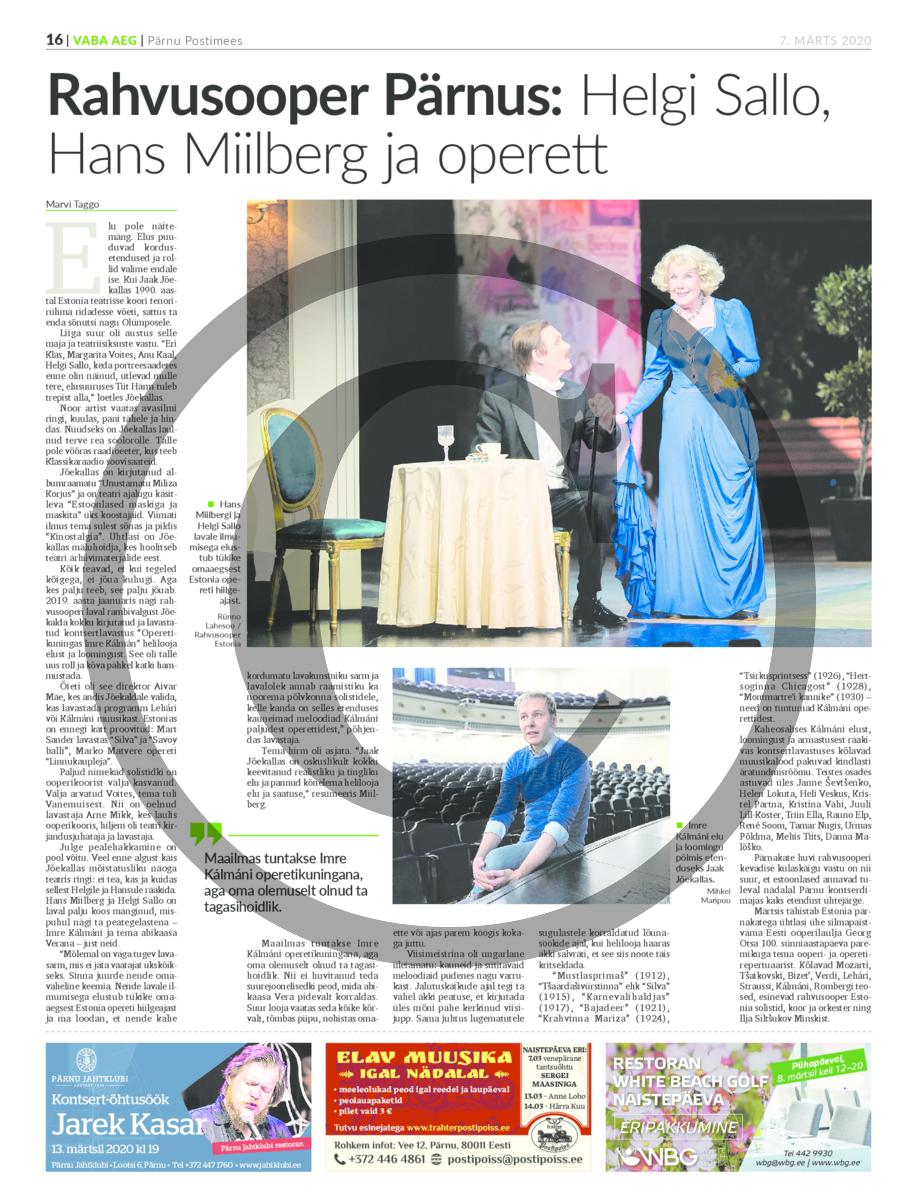 Rahvusooper Pärnus- Helgi Sallo, Hans Miilberg ja operett